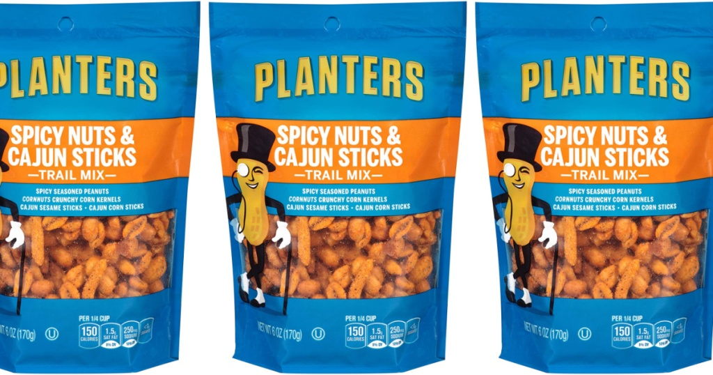 Planters Spicy Nuts & Cajun Stick Trail Mix 6-Ounce Pouches