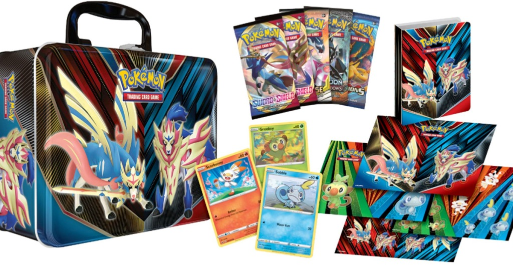 Pokemon collector's chest set with metal carrying tin, booster packs, holographic cards, and sticker sheets