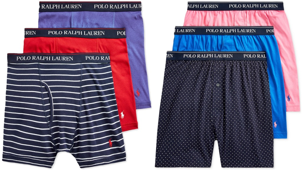 two three-pack sets of Polo Ralph Lauren men's boxers in assorted colors
