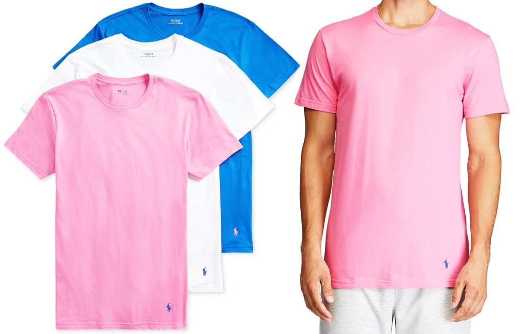 set of three men's shirts in pink, white, and blue colors with man modeling pink shirt