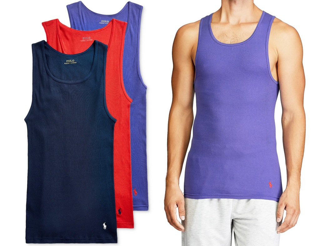three men's tank tops in navy blue, red, and light blue colors with man modeling light blue one