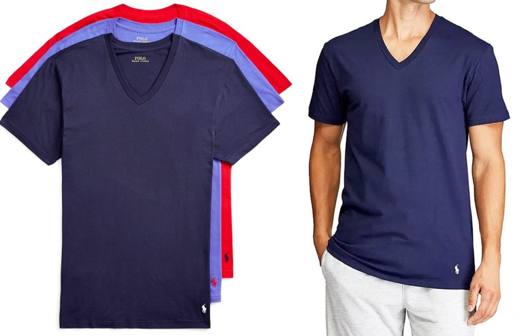 set of three men's v-neck shirts in navy, light blue, and red colors with man modeling navy shirt
