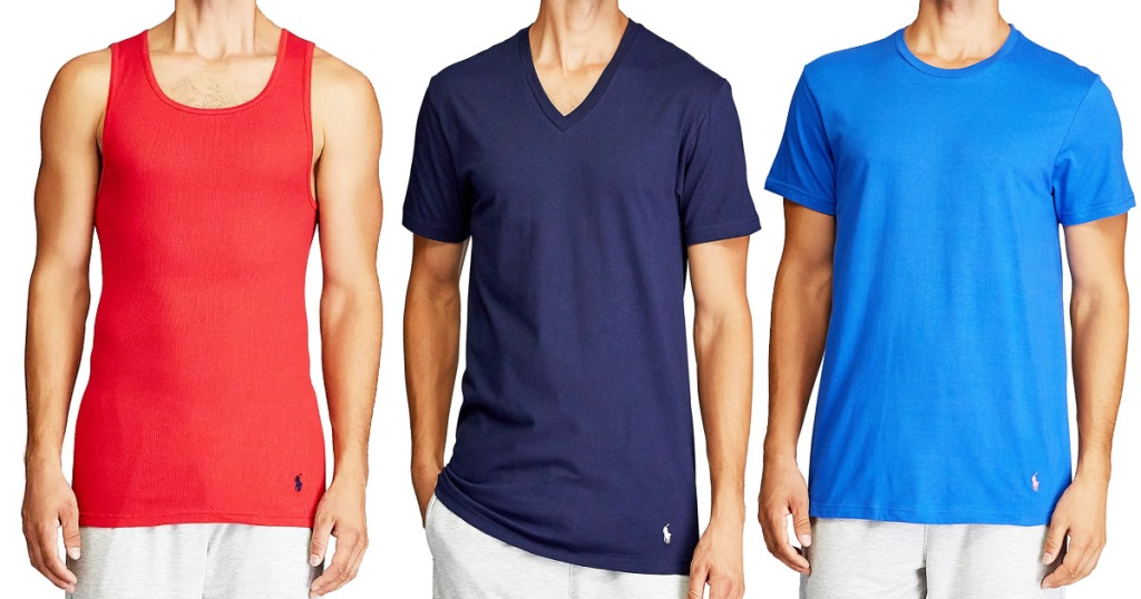 three men modeling a red tank top, navy v-neck shirt, and blue crew neck shirt