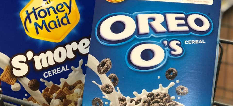 OREO O's and S'mores cereal in a cart