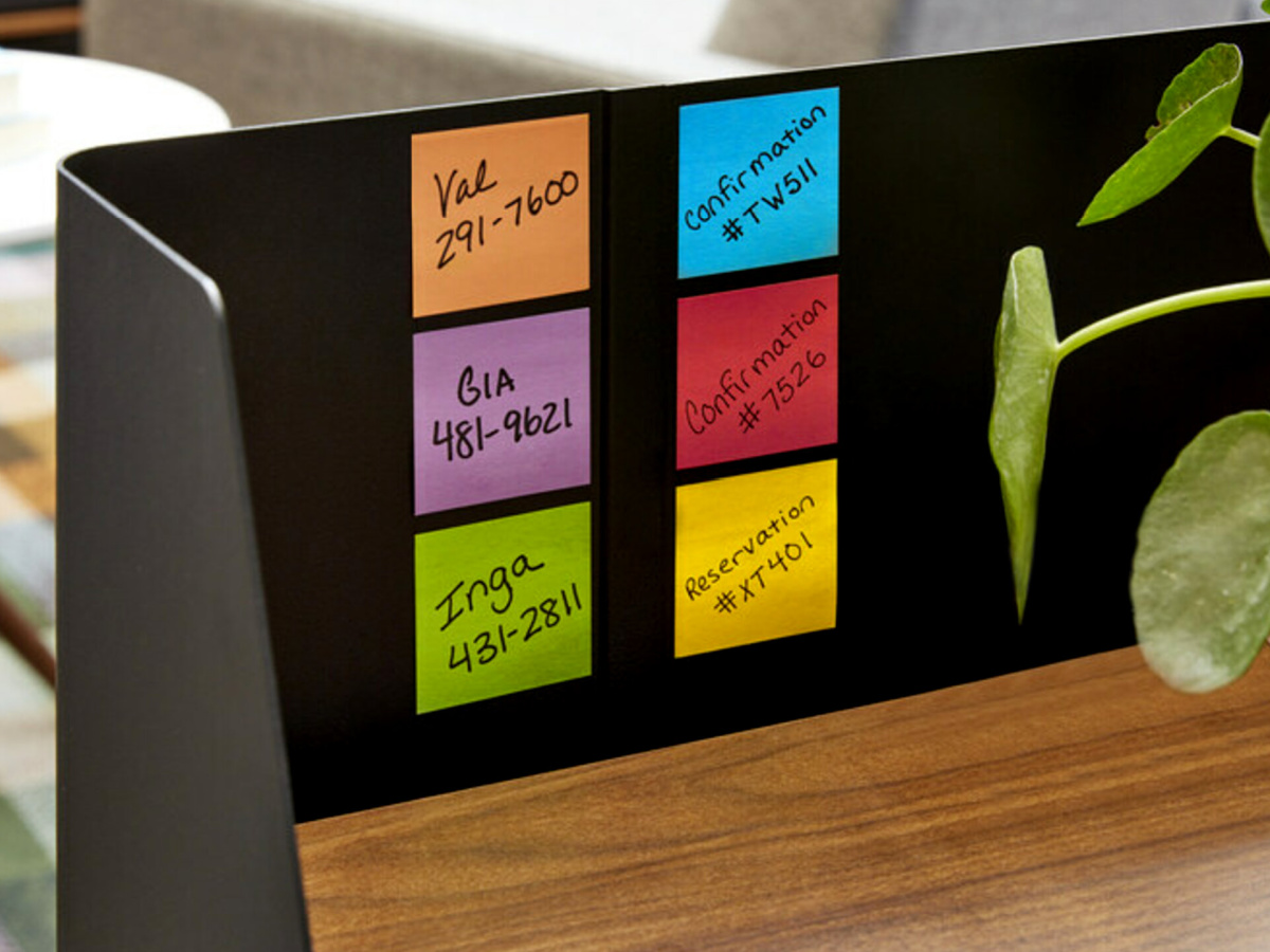 six sticky notes with writing on them