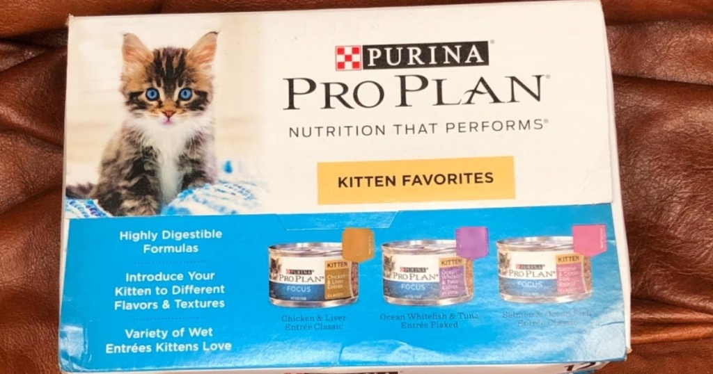 box of canned wet cat food