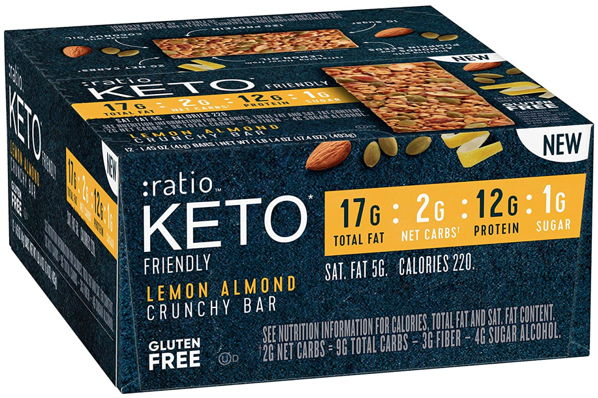 ratio keto lemon almond crunchy bar