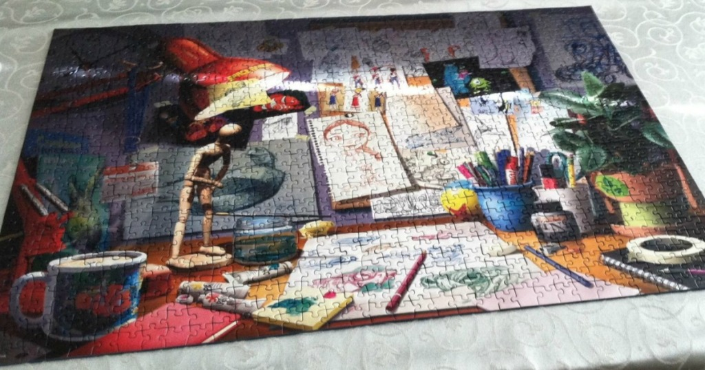 Disney Pixar themed jigsaw puzzle all put together