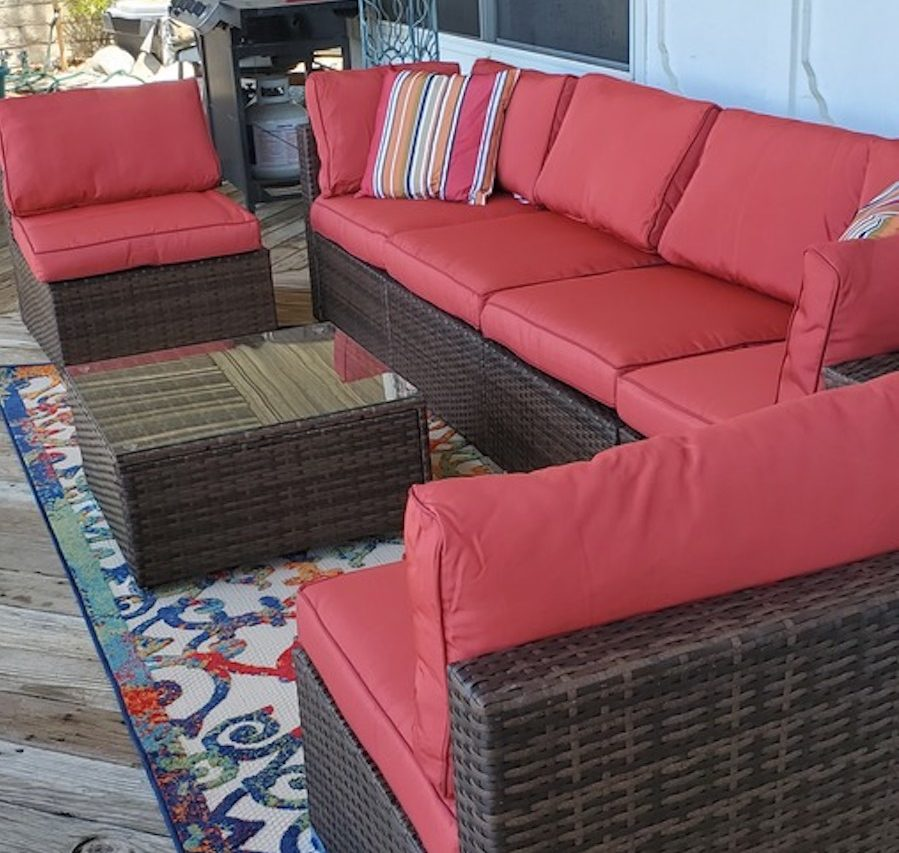 Red Patio Set on porch