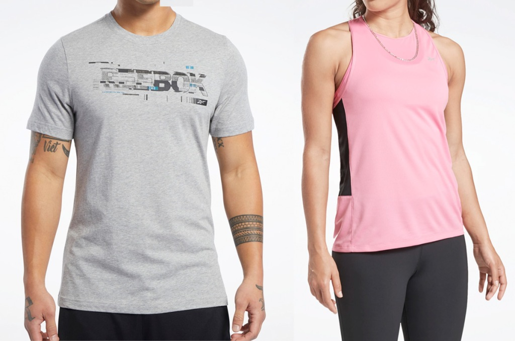 man modeling grey shirt with reebok graphic and woman modeling pink workout tank top
