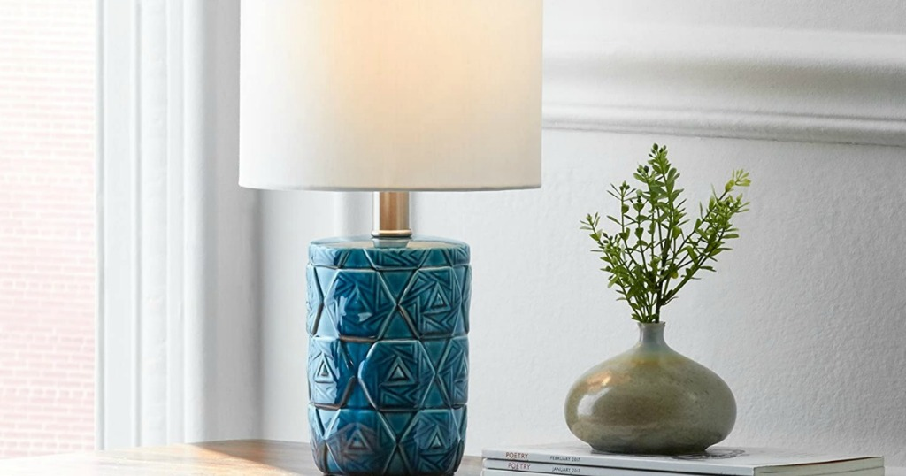 lamp next to a vase with a plant