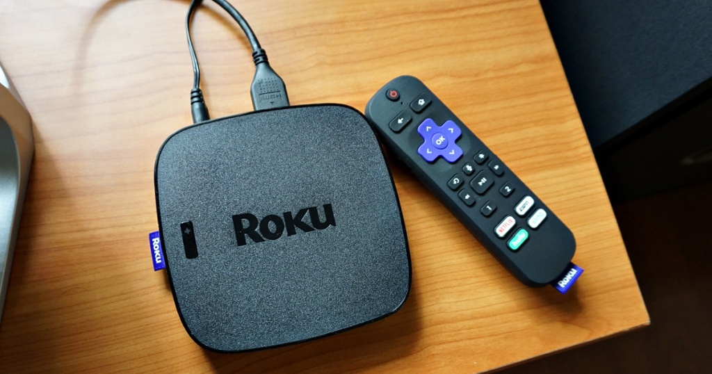 streaming media player and remote on table