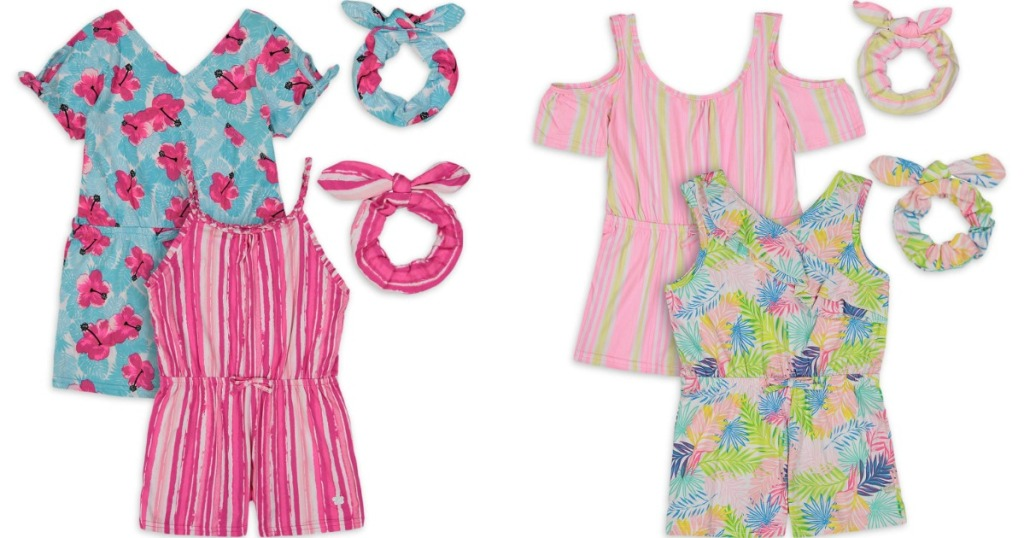 four rompers with matching scrunchies