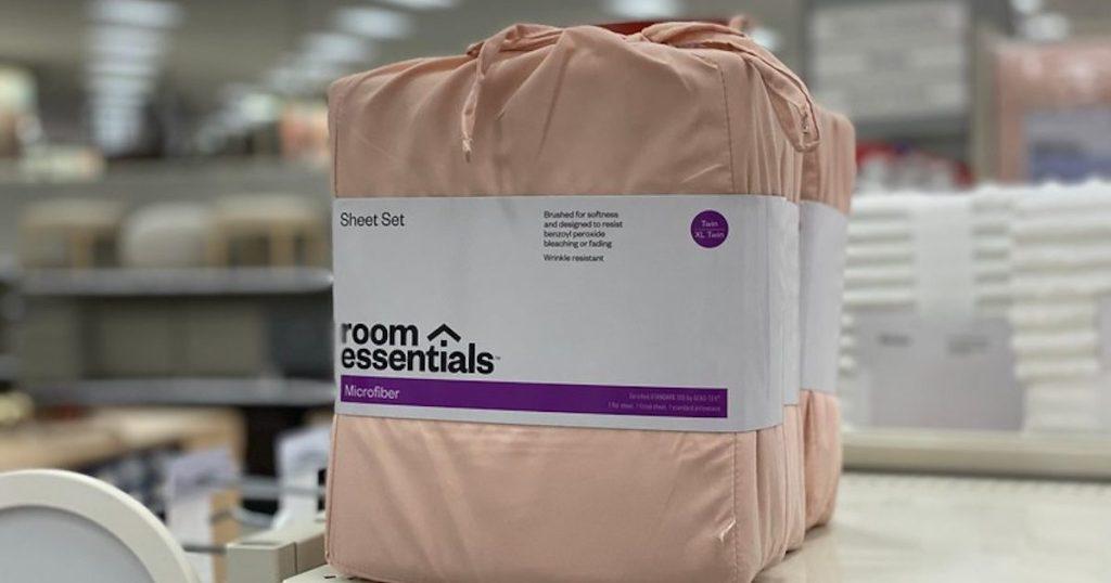 target shelf with Room Essentials twin XL Microfiber Sheet Set 3-Piece in pink