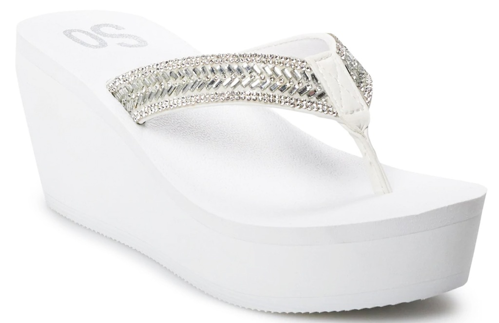 white tall wedge flip flop with beaded silver straps