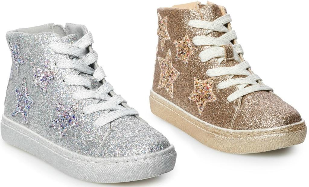 Glitter high-tops for girls - gold and silver