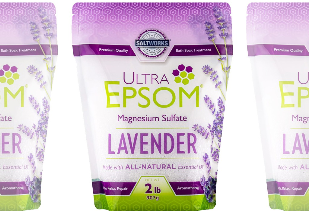purple and green bag of lavender scented epson salt