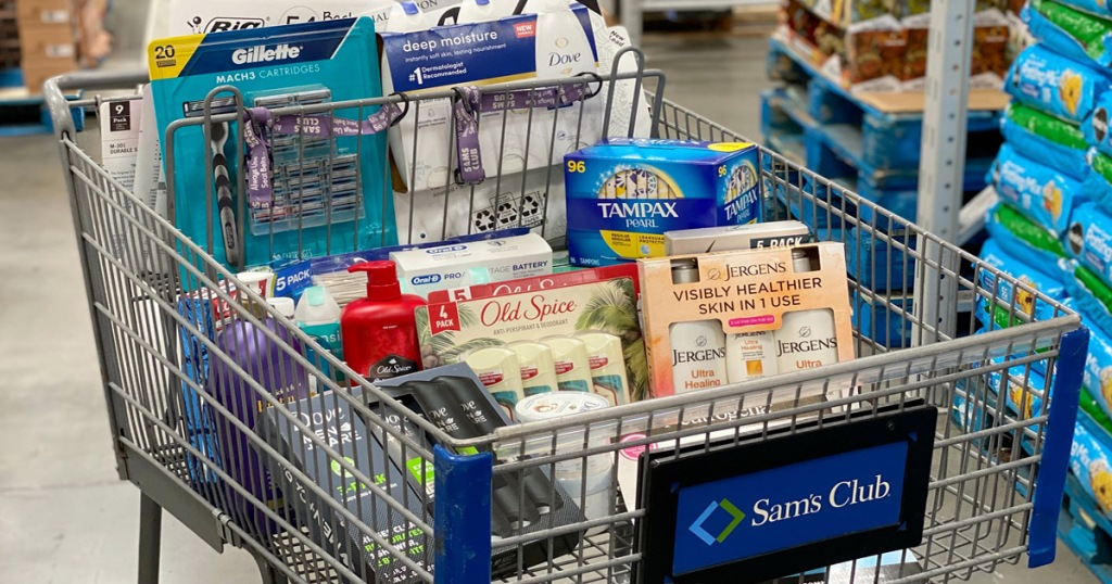 Sam's Club shopping cart filled with bulk personal care items