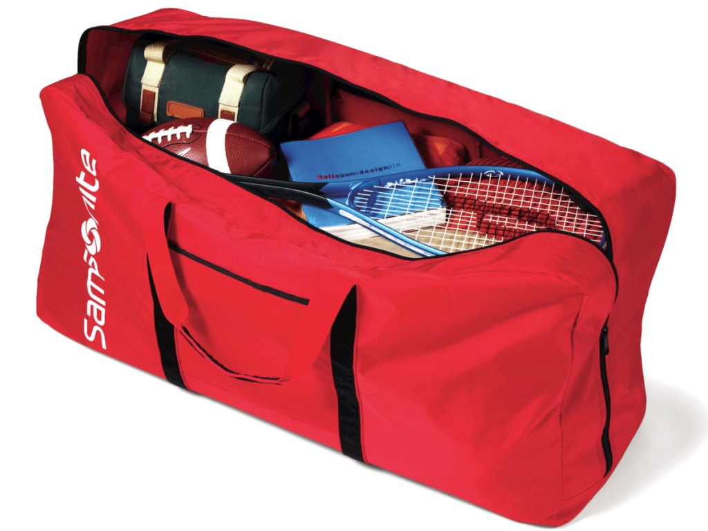 large red duffle bag open showing it's contents