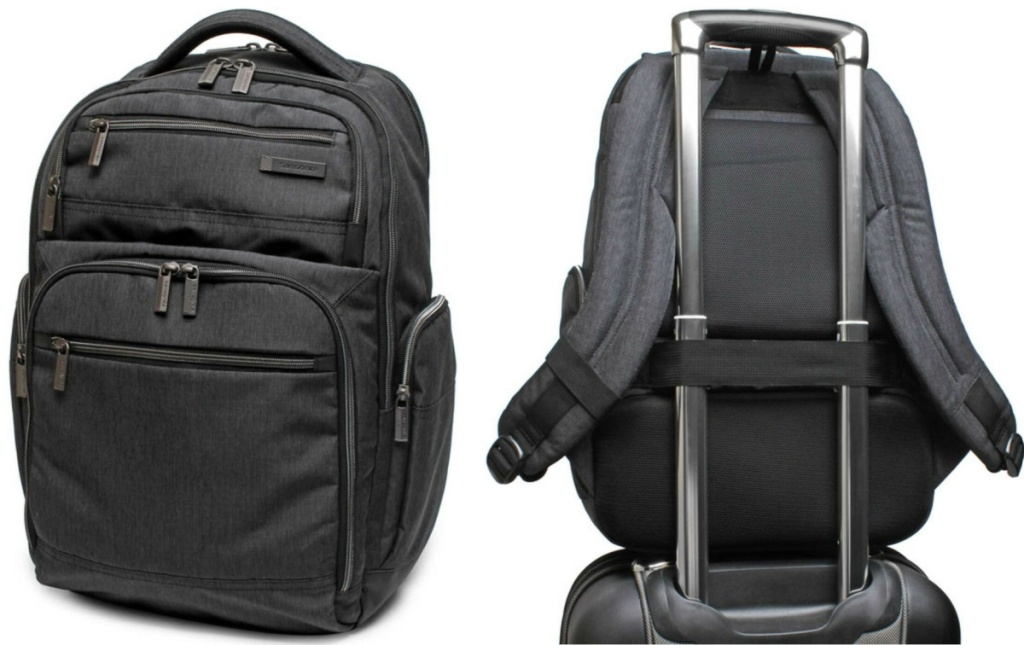 front and back of dark grey travel backpack