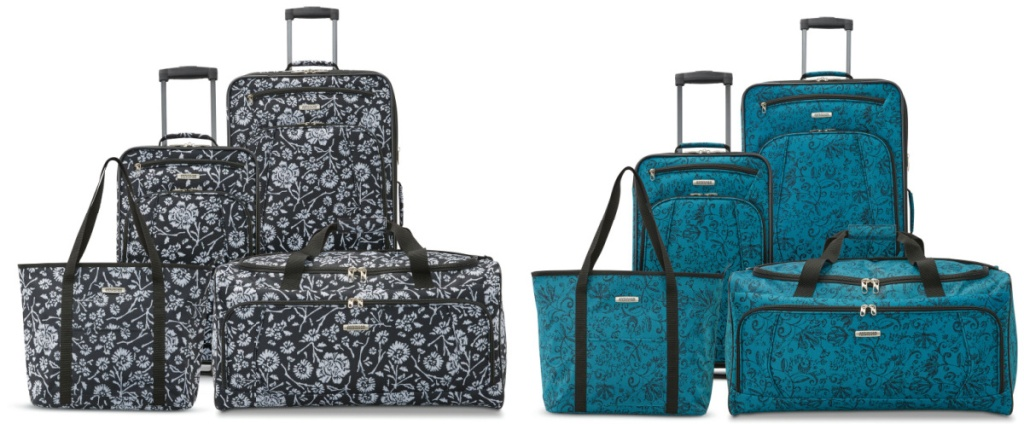 2 sets of 4-piece luggage sets sitting side by side