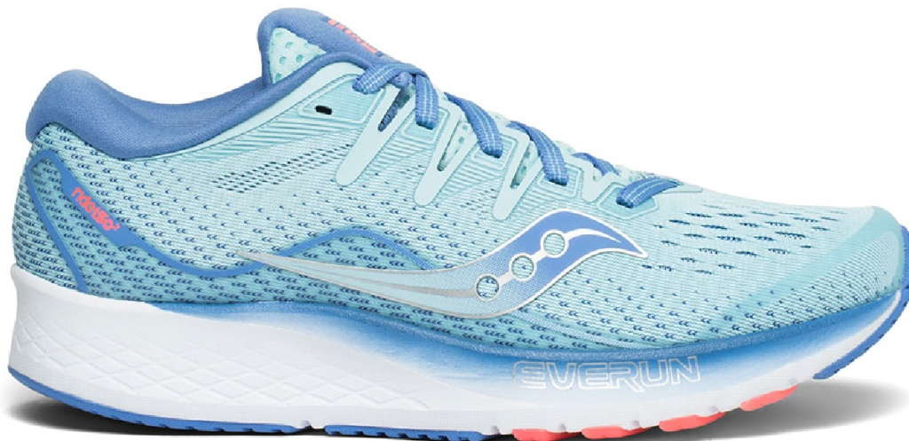 blue themed lace up running shoes