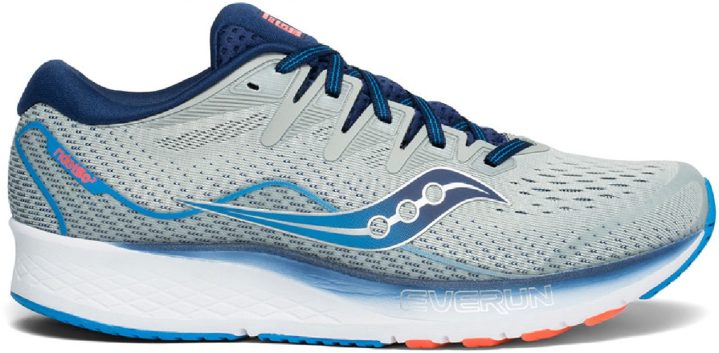 gray and blue themed lace up running shoes