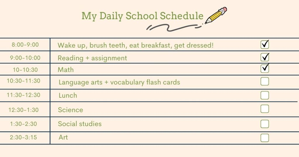 An example school day schedule