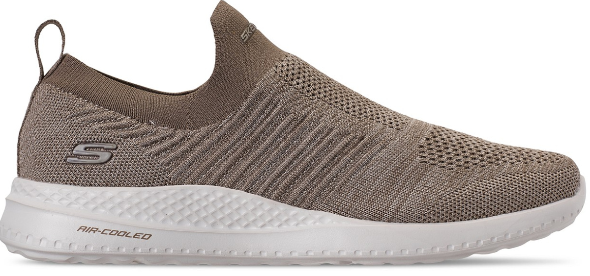 stock image of light coffee brown knit sneakers
