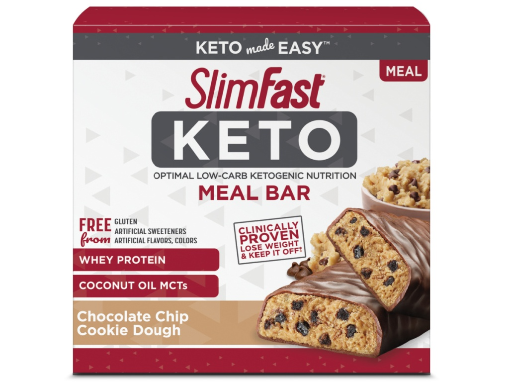 SlimFast Keto Chocolate Chip Cookie Dough Meal Bars
