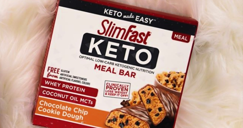 Slimfast Keto Chocolate Chip Cookie Dough Meal Replacement bars