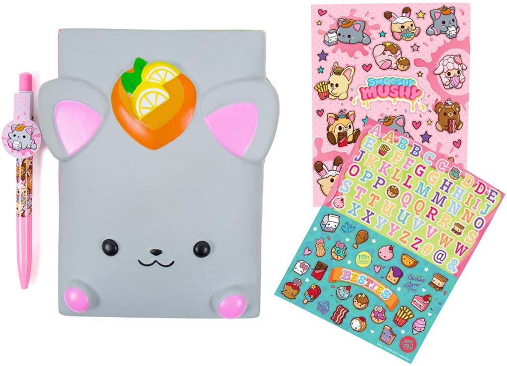 gray mouse looking diary with pen and stickers