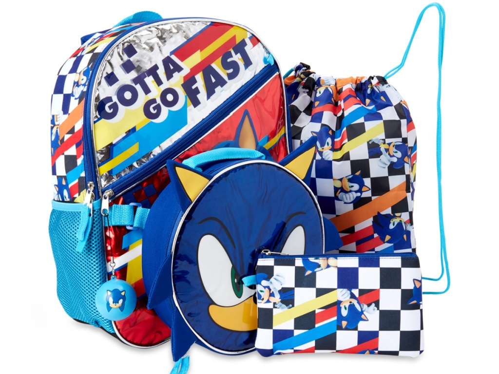 stock image of backpack set with sonic the hedgehog characters