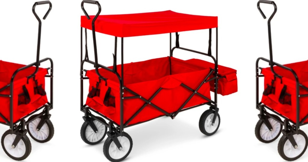 red family sports wagon that is red