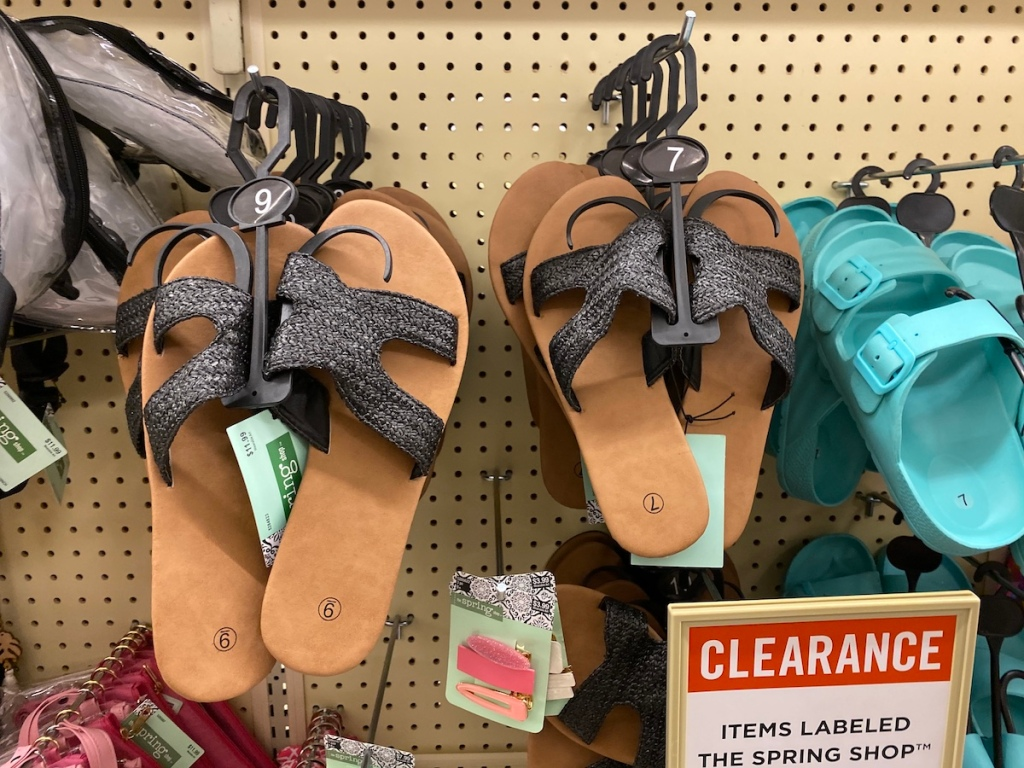 sandals hanging on display at Hobby Lobby