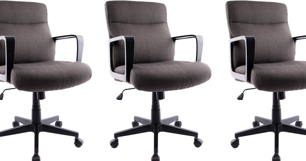 three brown fabric office chairs with black arm rests and wheels