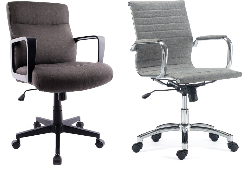brown fabric and grey fabric office chairs with wheels