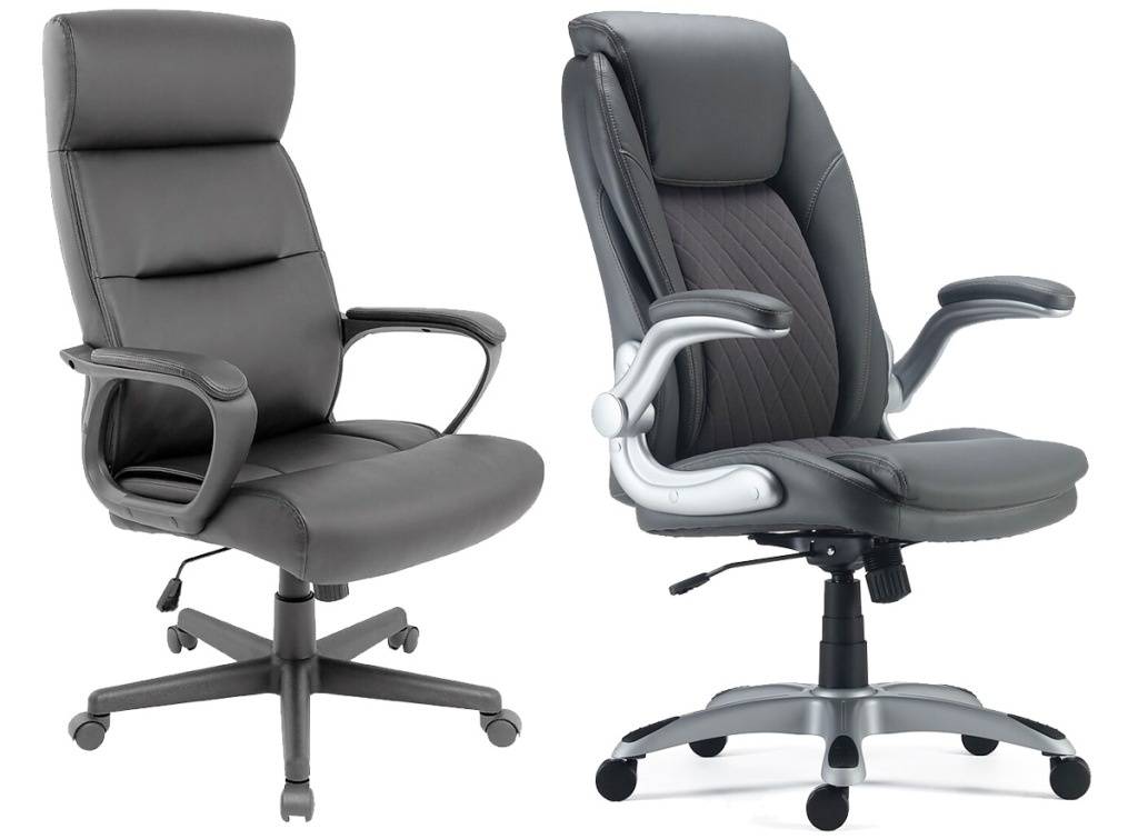 two black leather office managers chairs with wheels