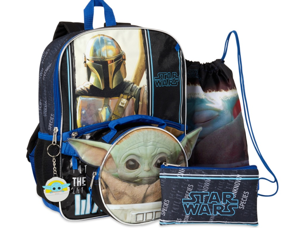 stock image of backpack set with star wars characters