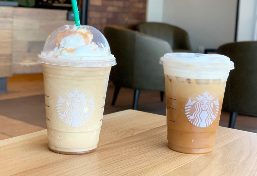 Starbucks Frappuccino and Iced Drink sitting on a wood table