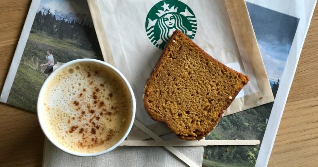 starbucks pumpkin spiced latte with pumpkin bread