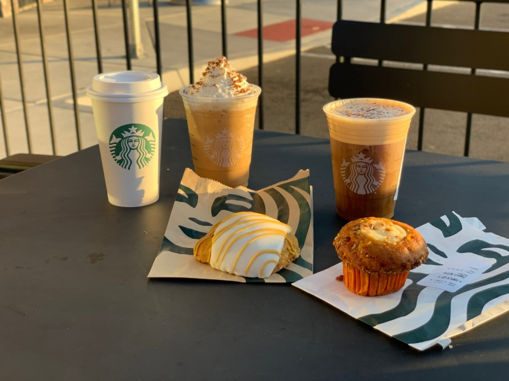 pumpkin spice lattes and food