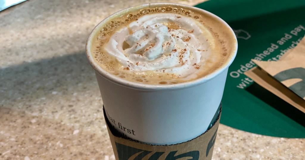 top view of Starbucks Pumpkin Spiced Latte