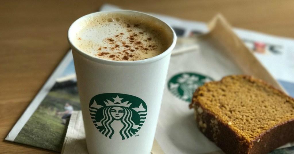Starbucks pumpkin spice latte and bread