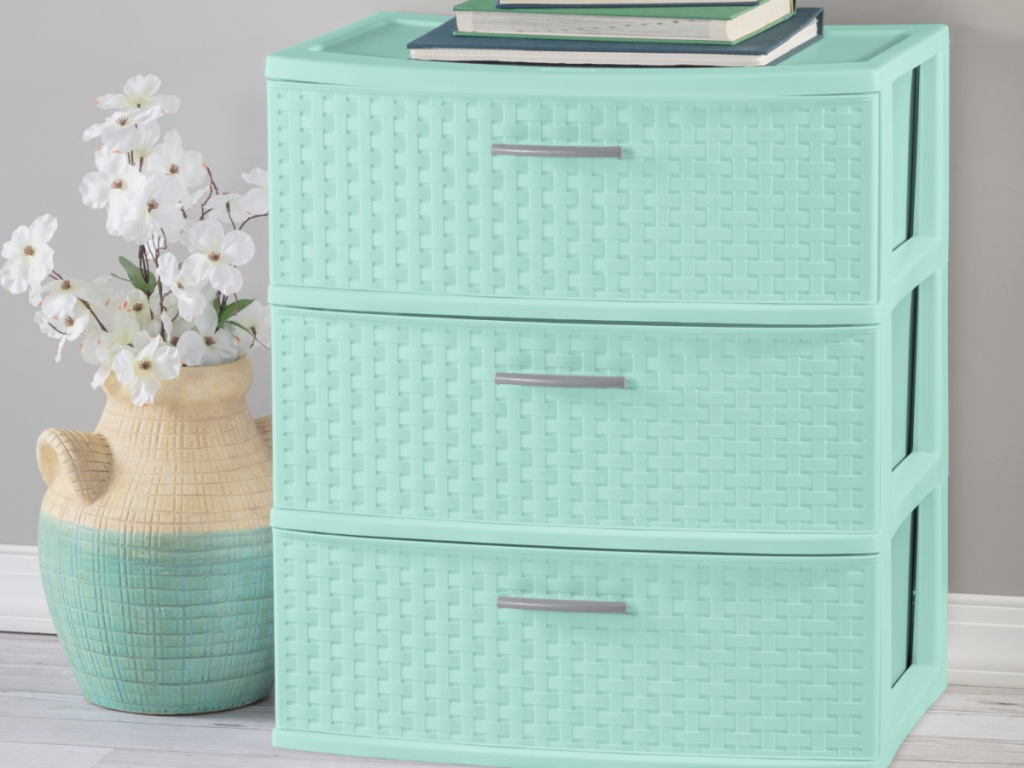 Sterilite 3 Drawer Wide Weave Tower Classic Mint
