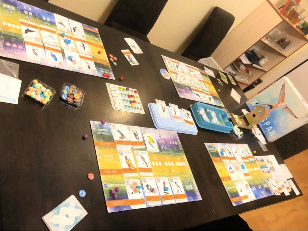 Stonemaier Games Wingspan with Swift Start Pack on table in play
