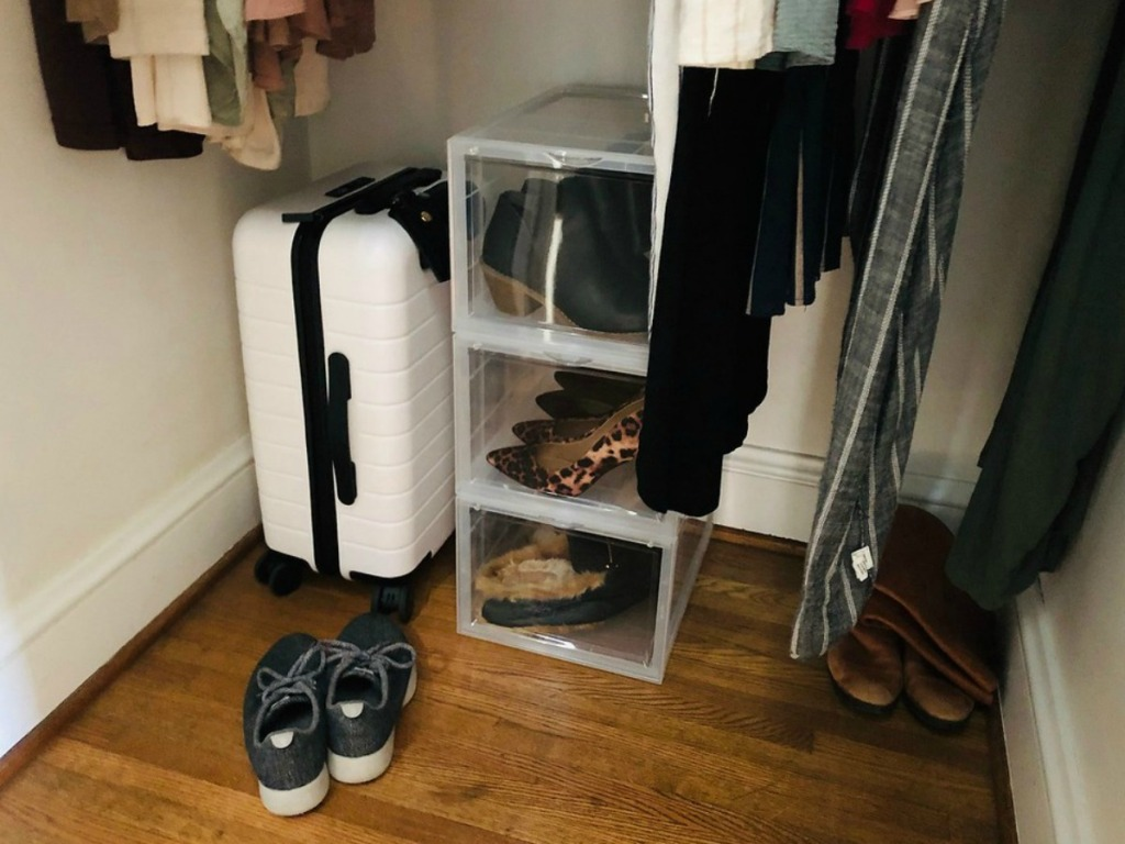 storage. bin for shoes in a closet