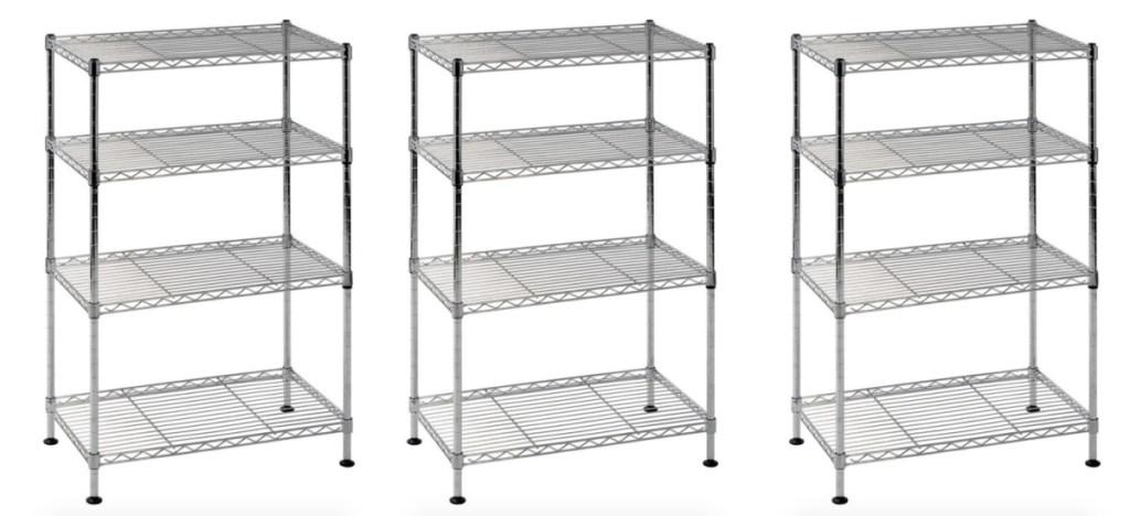 3 chrome wire storage shelves racks