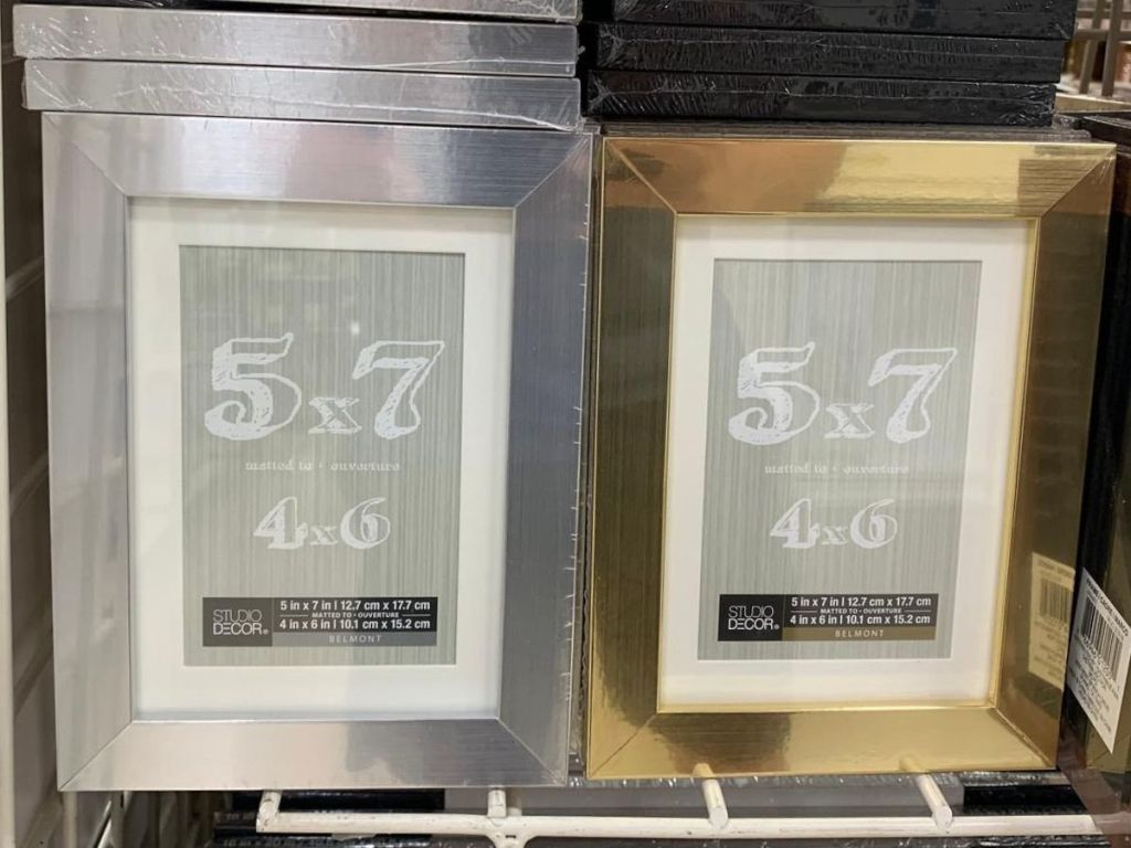 5x7 picture frames on shelf at store