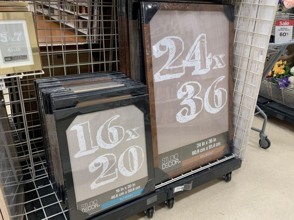 large picture frames on store shelf
